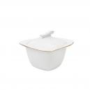 Sucrier 250 ml en porcelaine, service de vaisselle en porcelaine, service à café blanc avec liseré doré