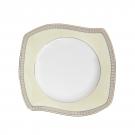 Assiette plate en porcelaine, service de vaisselle blanc avec galon d'or