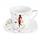 Tasse à thé 220 ml avec soucoupe carrée Belle de Jour