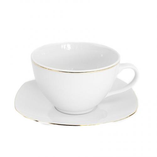 tasse th 400 ml avec soucoupe nuage aux liser s dor s. Black Bedroom Furniture Sets. Home Design Ideas