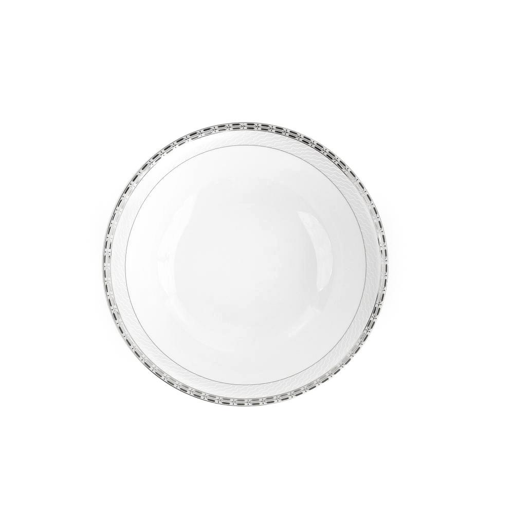 Saladier rond 23 cm vague de neige en porcelaine - Saladier porcelaine blanche ...