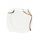 Assiette plate 22 cm, trio chocolatée en porcelaine, art de la table moderne