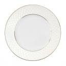 Assiette à aile plate ronde 20 cm porcelaine, service de table complet blanc avec galon or