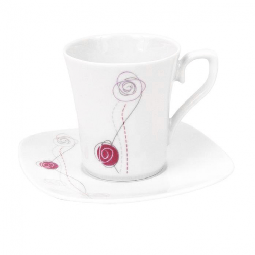 tasse assiette tasse caf 100 ml avec soucoupe carr e rose de damas en porcelaine. Black Bedroom Furniture Sets. Home Design Ideas