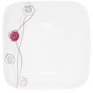 Assiette plate carrée 25 cm Rose en porcelaine