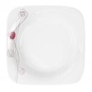 Assiette creuse carrée 20,5 cm Rose en porcelaine