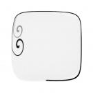 Assiette plate carrée 19 cm Hibiscus en porcelaine