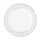 Assiette plate ronde à aile 21 cm Lupin en porcelaine, service complet de vaisselle avec galon de platine