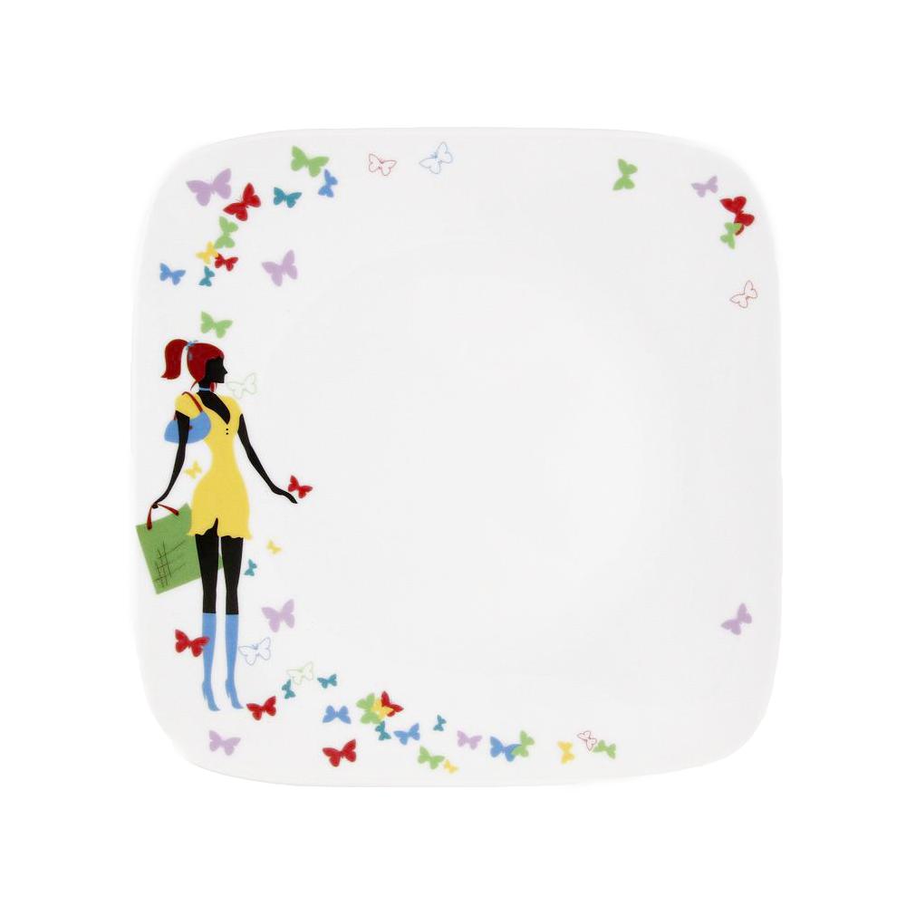 tasse assiette assiette plate carr e 25 cm belle de jour en porcelaine. Black Bedroom Furniture Sets. Home Design Ideas
