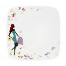 Assiette plate carrée 19 cm Belle de Jour en porcelaine