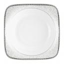 Assiette creuse carrée 20 cm Oxalis en porcelaine