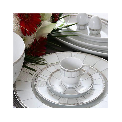 Service de table 24 assiettes vague de neige en porcelaine - Service vaisselle complet ...