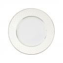 Assiette à aile plate ronde en porcelaine, grand service de vaisselle en porcelaine avec filet d'or