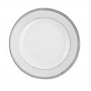 Plat rond à aile, plat blanc avec liseret platine, art de la table, service en porcelaine