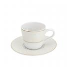 Tasse à café 100 ml avec soucoupe en porcelaine avec filet or