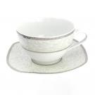 Tasse petit déjeuner 400 ml avec soucoupe Astilbe en porcelaine