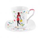 Tasse à café 100 ml avec soucoupe Jolie Demoiselle en porcelaine