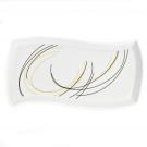 Plat rectangulaire ondulé 32 cm Aubépine en porcelaine