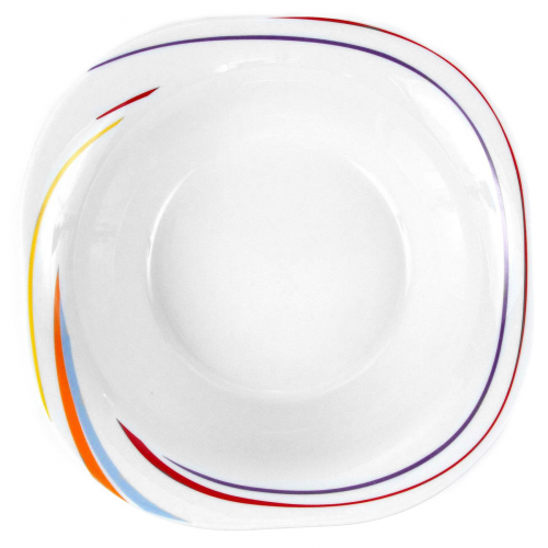 Tasse assiette saladier carr 26 cm tourbillon fruit for Service de table carre
