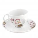 Tasse à thé 250 ml avec soucoupe Symphonie des Papillons en porcelaine