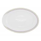 Plat 33 cm ovale en porcelaine blanche - Bulle Pastel