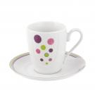 Tasse à café/thé 230 ml avec soucoupe en porcelaine Bulle pastel