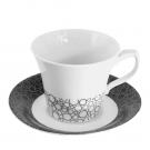 Tasse à thé 250 ml avec soucoupe Black or White en porcelaine blanche