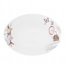 Plat ovale 33 cm Symphonie des Papillons en porcelaine