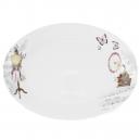 Plat ovale 37 cm Symphonie des Papillons en porcelaine