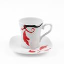 Tasse à café 100 ml avec soucoupe carrée Hélianthème en porcelaine blanche