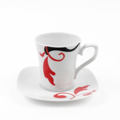tasse caf 100 ml avec soucoupe carr e baroque en porcelaine. Black Bedroom Furniture Sets. Home Design Ideas
