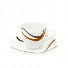 Tasse 200 ml Trio Chocolaté en porcelaine, service à café complet en porcelaine