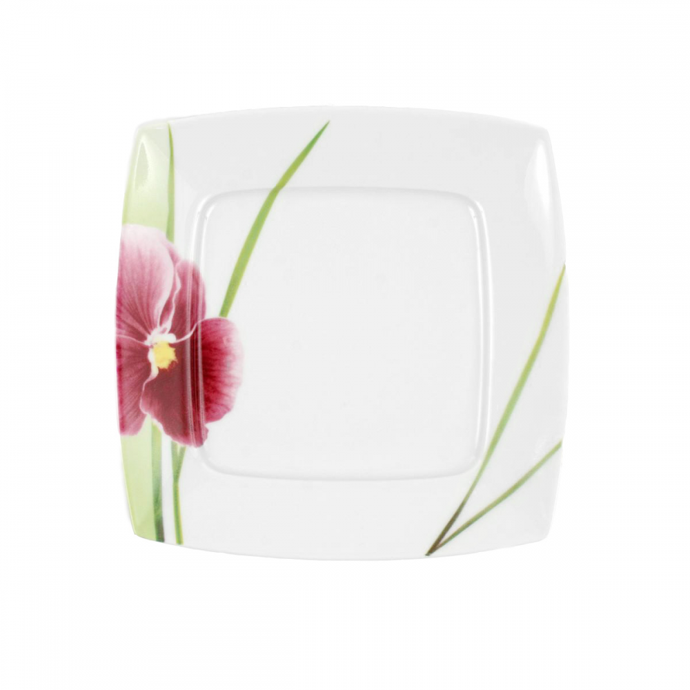 tasse assiette assiette plate carr e 21 cm violette en porcelaine. Black Bedroom Furniture Sets. Home Design Ideas
