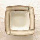 Assiette creuse carrée 21,5 cm Saxifrage en porcelaine fine blanche