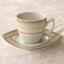 Tasse à thé 200 ml avec soucoupe Saxifrage en porcelaine fine blanche