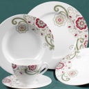Service de table 30 pcs en porcelaine fine blanche Chant des Prés