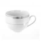 Tasse petit déjeuner en porcelaine blanche avec galon de platine, service à café