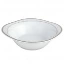 Saladier carré 25 cm Bosquet Argenté en porcelaine, service complet de vaisselle en porcelaine