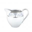 service de table en porcelaine blanche, vaisselle galon platine, crémier