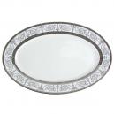 service de table en porcelaine blanche, vaisselle galon platine, plat de service ovale