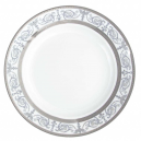 service de table en porcelaine blanche, vaisselle galon platine, plat de service creux
