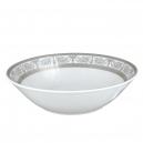 art de la table, service de table complet en porcelaine blanche, vaisselle galon platine, saladier