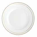art de la table, service de table complet en porcelaine blanche, vaisselle galon or, plat de service creux rond