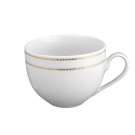 art de la table, service de table complet en porcelaine blanche, vaisselle galon or, tasse petit déjeuner en porcelaine