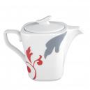 art de la table, service de table complet en porcelaine blanche, vaisselle carrée décorée, théière en porcelaine