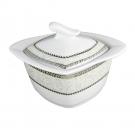 service de table complet, vaisselle en porcelaine blanche galon platine, sucrier 250 ml, art de la table