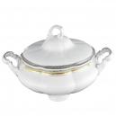 Soupière 2.8 l, service de table complet, vaisselle en porcelaine blanche galon or, galon platine, art de la table, style ancien