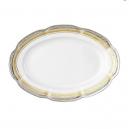 Ravier 24 cm, service de table complet, vaisselle en porcelaine blanche galon or, galon platine, art de la table, style ancien