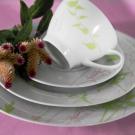 Service de table 30 pcs en porcelaine fine blanche décorée Lavatère