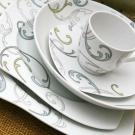 Service de table 30 pcs en porcelaine fine blanche décorée Poème Végétal